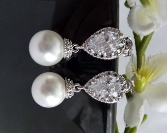 Wedding Bridal Earrings High Quality 10 mm White Round Swarovski Pearl with White Gold Plated Teardrop CZ Post Earring