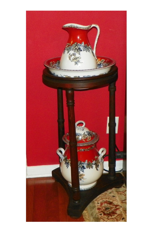 Antique Polychrome Wash Stand Set Empire Pitcher Bowl Basin