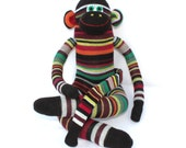 Sock Monkey Doll / Striped / Red, Orange, Green, Gray, Black, Yellow / 21 inches