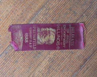 Vintage Ribbon - Maroon - Delegate, 22nd Annual Encampment Department of Illinois Springfield February 15 & 16, 1888