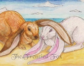 English Lop Rabbit Blank Greeting Card, Beach Bunnies Card, Rabbit Card, Rabbit Art, Easter Card, Thank you, warm beach, Print, OFG team