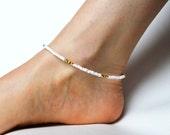 Beaded Rasta Anklet, White Bead Anklet, Reggae Ankle Bracelet, Rasta Jewelry, UK Seller