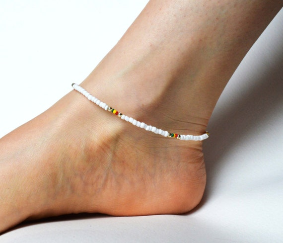beaded rasta anklet white bead anklet reggae ankle bracelet