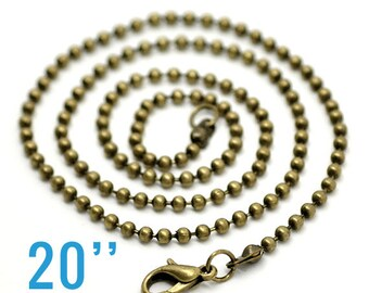 "4 2.4mm Ball Chain Necklaces  Antique Bronze  2.4mm  20"" - Ships IMMEDIATELY  from California - CH166"