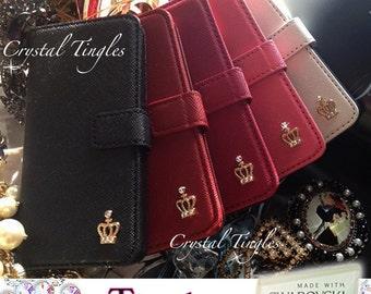 Sparkle Diamond Crown iPhone 6s Leather Open Book Wallet Case Cover Made Swarovski Crystal Diamond White Black Burgundy Rose Red White