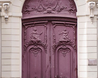 Paris Photo - Purple Door, Parisian Architecture Fine Art Photograph, Home Decor, Large Wall Art