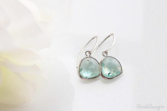 Light Green Earrings, Little Mint Glass Earrings, Green Jewelry, Wedding Jewelry, Green Weddings, Bridesmaids Gifts