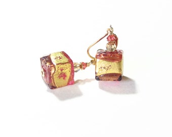 Murano Glass Pink Brown Cube Gold Dangle Earrings, Venetian Jewelry, Gold Filled Leverback Earrings, Italian Jewellery