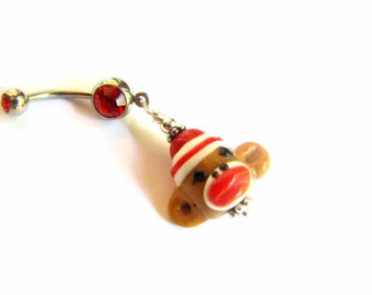 Sock Monkey Belly Button Ring - Cute Belly Ring Glass Monkey Bead Belly Button Jewelry Bellybutton Ring