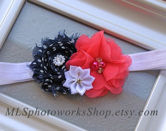 Navy Blue, Hot Pink, White Baby Girl Headband - Flower Hair Bow with Polka Dots for Babies - Navy and Pink Headbands