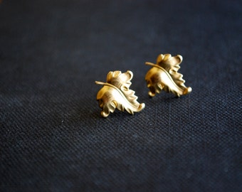 Gold Leaf Studs -- Earrings, Detailed Brass Leaves, Gold