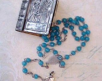 Very Pretty Little French Rosary of Turquoise Colored Blue Beads with 4-Way Crucifix