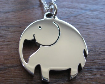 Chunky Elephant Pendant Necklace