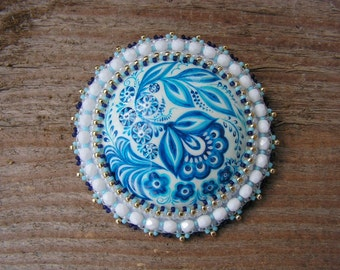 White Blue Brooch Hand Painted Flower Brooch Beadwork Brooch Folk Style Brooch Cabochon Brooch Bead embroidery jewelry Russian MADE TO ORDER