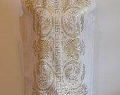 Vintage Cream and Gold Embroidered Wiggle Greek Dress / 1970s Dress