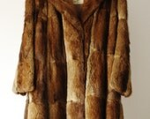 RESERVED FOR ANITA / Winter Sale  Vintage Brown 100% Natural Fur & Leather Made in Canada Women Coat Medium