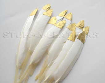 GOLD dipped feathers natural white - metallic gold hand painted loose duck feathers gold tip / 4.5-6 in (11.5-15 cm) long, 12 pcs /F120-4.5G