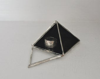 Magus Pyramid Display Box, small - black glass pyramid - jewelry box - hinged - silver or copper - eco friendly