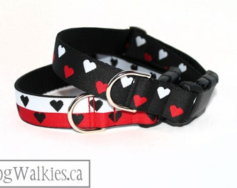 """Red and White Hearts Valentine Dog Collar - 1"""" (25mm) Wide - Martingale Collar or Quick Side Release -Choice of collar style, color and size"""