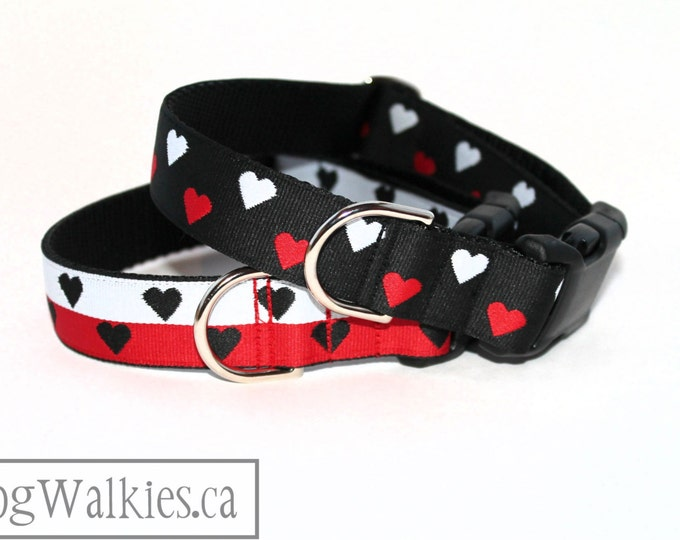 """Featured listing image: Red and White Hearts Valentine Dog Collar - 1"""" (25mm) Wide - Martingale Collar or Quick Side Release -Choice of collar style, color and size"""