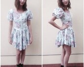 90s floral skater dress w/ lace up corset & hi-lo hem
