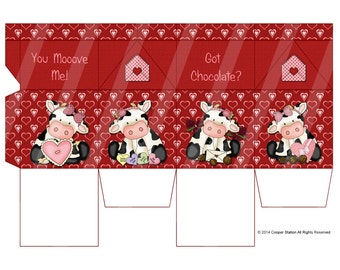 Digital Printable Milk Box Valentine Theme