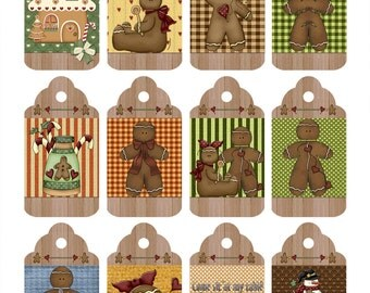 Digital Printable Gift Tags Gingerbread Theme