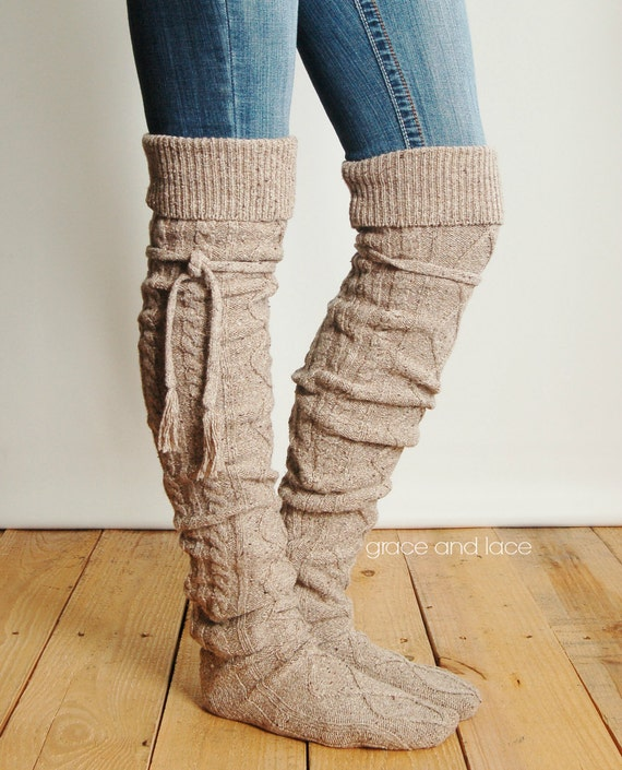 Knee High Boot Socks Knitting Pattern : Alpine Thigh High Slouch Sock BARLEY BROWN by GraceandLaceCo