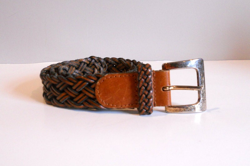 vintage leather belt woven braided belt talbots womens small