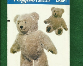 Vintage 1980s Vogue 8658 Teddy Bear 23 Inches Tall  UNCUT