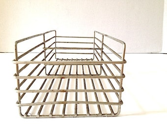 Small Wire Metal File Filing Tray Organizer Holder, Mid Century Desk Organizer, Metal Wire Desk Filing System, Industrial Storage,
