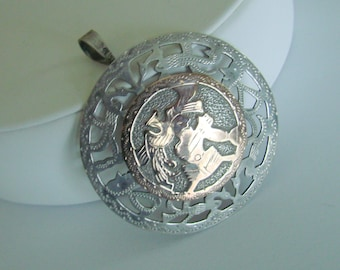 Coin Silver Designer Signed Aztec or Mayan Disc Brooch Pendant / Vintage Jewelry / Jewellery