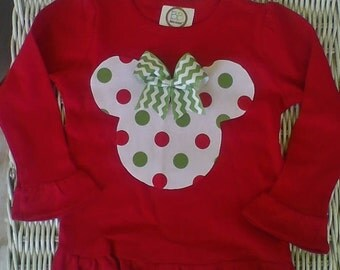 12m Minnie shirt, Christmas polka dot minnie, applique minnie, baby girl, toddler, children, minnie mouse outfit monogrammed sz 0-3m-10