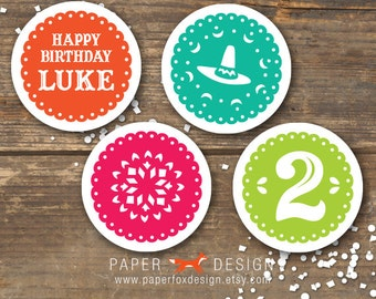 Fiesta Cupcake Toppers - Printable - Birthday Tags or Labels