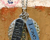Aromatherapy Essential Oil Diffuser Necklace - Faith, Hope, Love