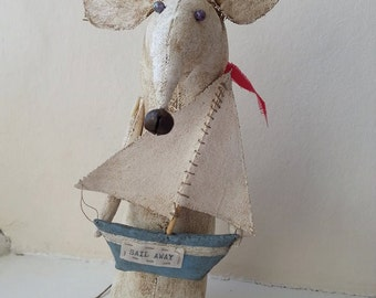 Mouse art, quirky mouse, soft sculpture mouse, sailing boat.