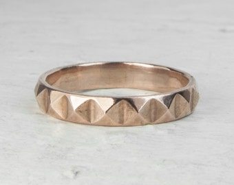 18ct Gold Vermeil Studded Facet Stacking Ring