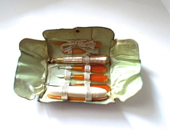 Antique Manicure Set Travel Amber Pyralin Celluloid Gatsby Era Nail Kit Art Nouveau