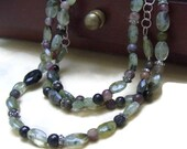 Green Multi Strand Necklace - Garnet and Tourmaline nature inspired necklace
