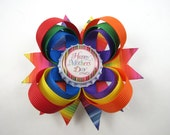 Mother's Day Hair Bow -  Happy Mother's Day - Rainbow Hair Bow - Colorful Hair Bow - Red Orange Yellow Green Blue Purple Hair Bow