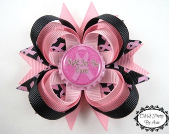Breast Cancer Awareness Hair Bow - Pink and Black Hair Bow - Pink Ribbon Hair Clip - Breast Cancer Awareness - Pink Hair Bow - Hair Bows