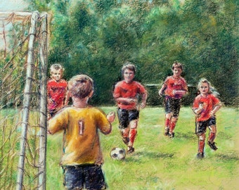 "Soccer Sports - ORIGINAL pastel painting - boys and girls team children wall art, 16x20  ""Little Defender"" Laurie Shanholtzer"