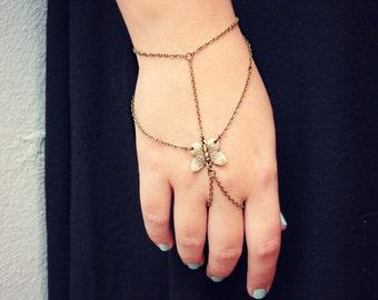 butterfly  hand piece, slave bracelet, bracelet ring, slave ring, butterfly ring, boho bracelet, ring bracelet