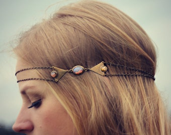 pink opal triangle head chain, chain headband, pink opal headband, metal headband, unique headband