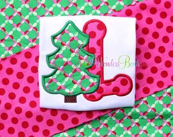 Christmas Tree Embroidered Shirt - Christmas Shirt - Christmas Initial - Girls Christmas Shirt - Holiday Shirt - Christmas Tree- Christmas