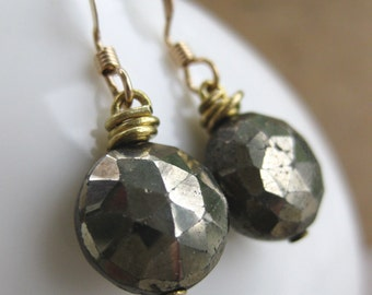 round facted PYRITE briolette earrings