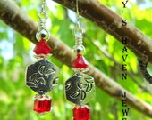 Red Swarovski crystal and silver beaded dangle earrings, handmade, unique, ready to ship, gifts for women