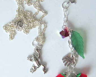 Handmade silver frog necklace with red and green flower removable dangles, ready to ship, free gift wrap, free shipping,  made in Montana