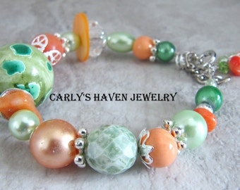mint green, peachy coral, and silver chunky beaded bracelet, ready to ship, handmade, gifts for women, gifts for mom, mint and peach
