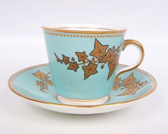 Vintage Mint Green Teacup and Saucer Gold Leaves Gilt Trim Tuscan China